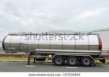 semi-truck. fuel tanker. - stock photo