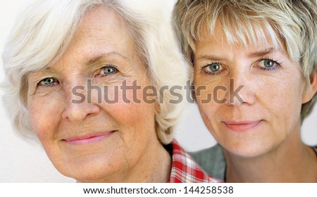 Senior and mature woman portrait, close up - stock photo