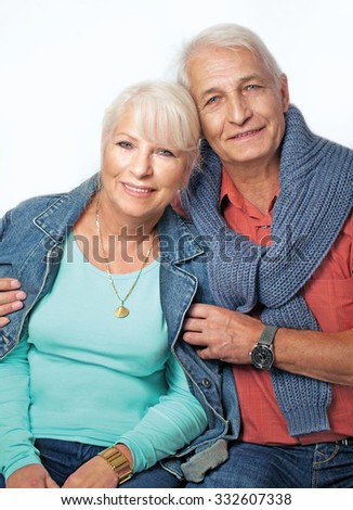 Senior couple portrait vertical - stock photo