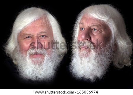 Seniors twins -happy elderly brothers with full beard - stock photo