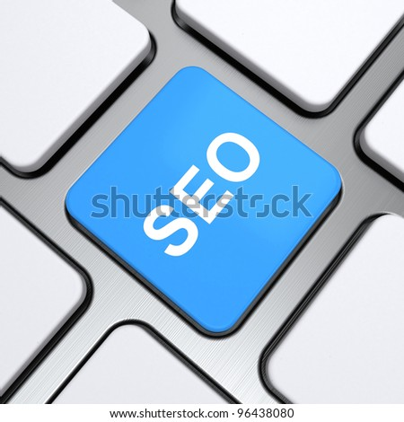 """""""Seo"""" text on a button keyboard, 3d render - stock photo"""