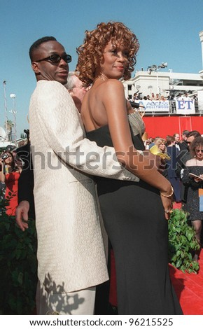 13SEP98: Actress/singer WHITNEY HOUSTON & husband BOBBY BROWN at the Emmy Awards in Los Angeles. Picture: Paul Smith / Featureflash - stock photo