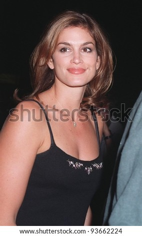 "29SEP97:  Supermodel CINDY CRAWFORD at the premiere of ""The Lovemaster"" in Los Angeles.  Crawford has a cameo role in the movie which stars Craig Shoemaker. - stock photo"