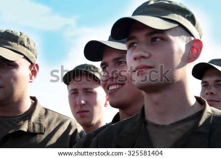26-Sept-2015 Kramatorsk, Ukraine Ukrainian soldiers listening to the Prime Minister of Ukraine who came to visit them