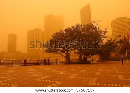 23 Sept 2009: Sydney, Australia, covered in a blanket of dust during an extreme dust storm.