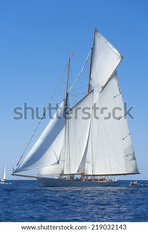 13 September 2014. Ancient sailing boat during a regatta at the Panerai Classic Yachts Challenge from 10 September 2014 to 14 September 2014, Imperia, Italy.