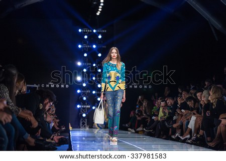 27 September, 2015 -Milan, Italy - A model walks the runway during the John Richmond Ready to Wear fashion show as part of Milan Fashion Week Spring/Summer 2016