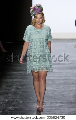 11 September 2015 - New York,USA - Ashley Nell Tipton Project Runway season 14 Finale collection at New York Fashion Week Spring Summer 2016 at Moynihan station - stock photo