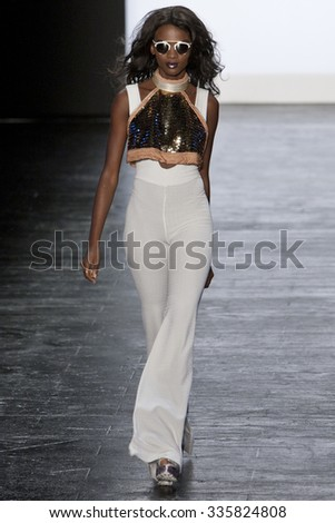 11 September 2015 - New York,USA -Kelly Dempsey Project Runway season 14 Finale collection at New York Fashion Week Spring Summer 2016 at Moynihan station - stock photo