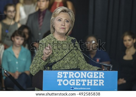 19 September 2016 - Philadelphia,USA - Secretary of State Hillary Clinton campaigns rally at Temple University Philadelphia.