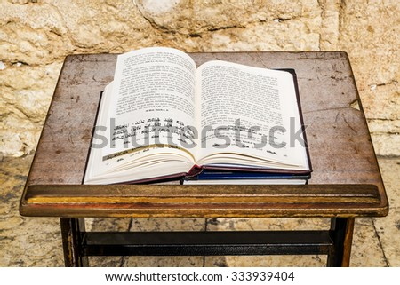 11 september 2014.Religious Jewish Book of lies amid the wailing wall in Jerusalem, Israel - stock photo