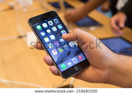 19 September 2014-Strasbourg, France: With a special event on September 9 by Apple introduced iPhone 6, has received four million pre-orders. - stock photo