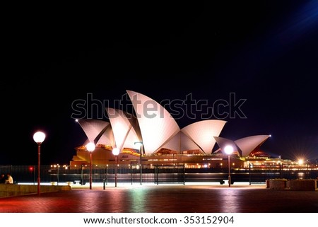 7 September 2015, Sydney Opera house at night time. It is the landmark of Australia.