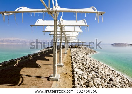 22 september 2012.The beach shelters from the sun on the shores of the Dead sea in Israel - stock photo