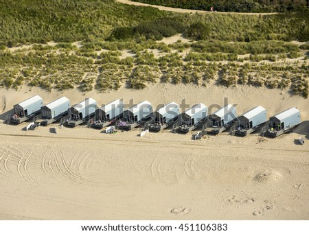 10 September 2015, Zeeland, Holland. Aerial view of a row with  beach houses near Westkapelle and Domburg in the provence of Zeeland, Netherlands.