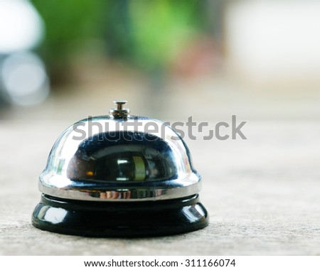 service bell  on wooden. - stock photo