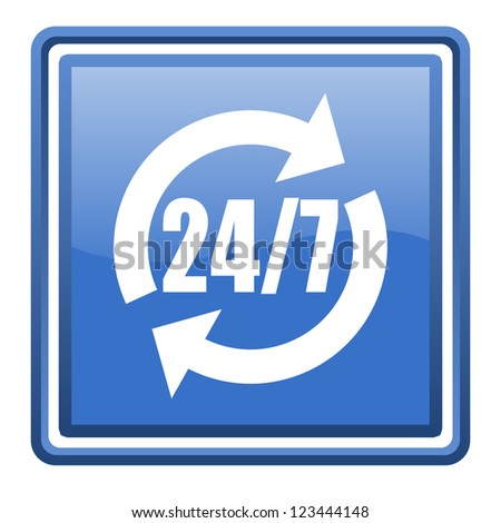 24/7 service blue glossy square web icon isolated