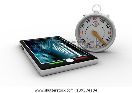 24/7 service concept. alarm clock and tab - stock photo