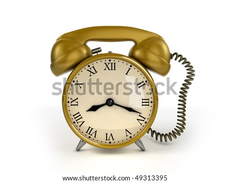 24/7 service concept. Retro alarm clock and retro phone receiver.