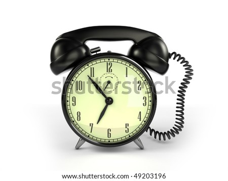 24/7 service concept. Retro alarm clock and retro phone reciever.