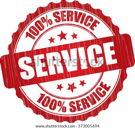 100% service grunge rubber stamp. - stock photo