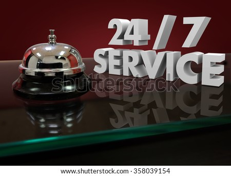 24 7 Service Numbers in 3d Characters on a front desk or counter for help or assistance that is open all night and every day - stock photo