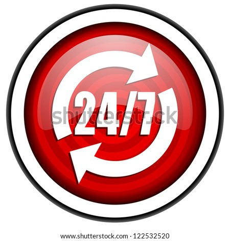 24/7 service red glossy icon isolated on white background