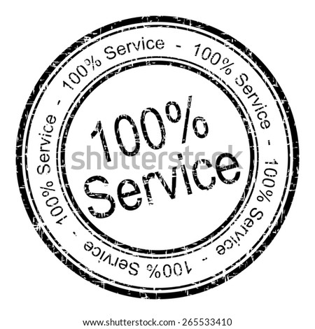 100% Service rubber stamp - stock photo