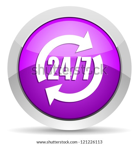 24/7 service violet glossy icon on white background
