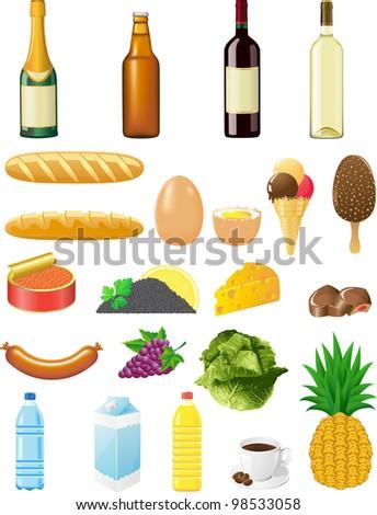 set icons of foods illustration isolated on white background - stock photo