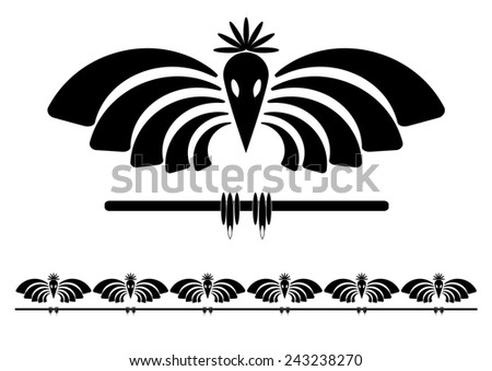 set  illustration of stylized raven in black and white color - stock photo