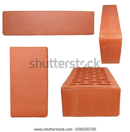 Set new red brick isolated on white background - stock photo