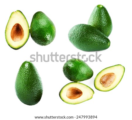 Set of Avocado slice and whole ripe green avocado fruit isolated on a white background. Whole and half avocados macro  - stock photo