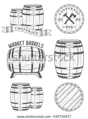 set of badges and logos cooperage workshops. The collection of symbols and emblems on a white background. Raster version.
