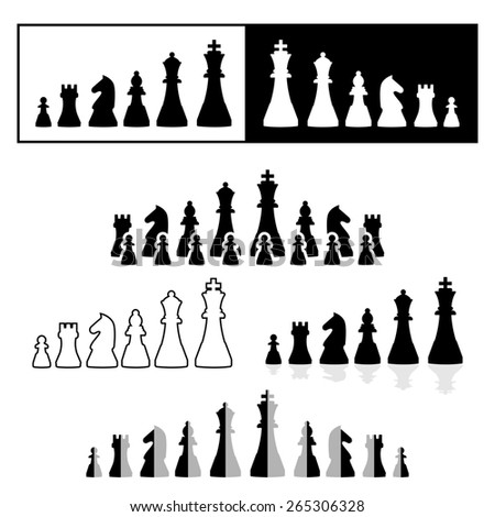 set of black and white chess pieces - stock photo