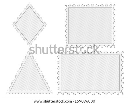 set of blank postage stamps - stock photo