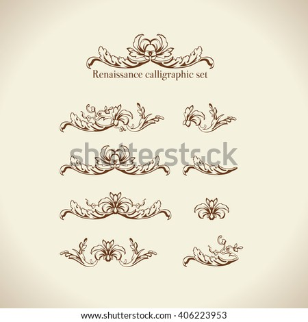 set of calligraphic design elements, page decor, dividers and ornate headpieces