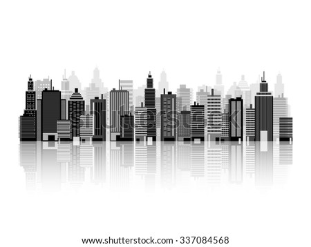 Set of city silhouettes. Cityscape. Town skyline. Panorama. Midtown houses. Skyscrapers.
