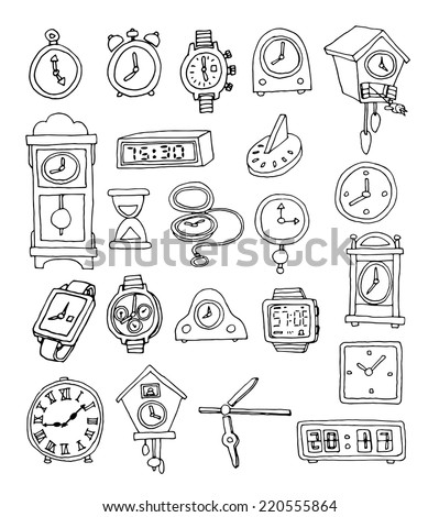 Set of clocks and watches, Hand drawn illustration. - stock photo