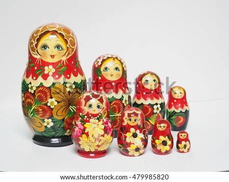 Set of colorful  wooden Russian dolls