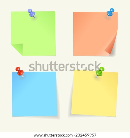 set of colour sticky Notes with pin