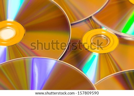set of DVDs scattered  - stock photo