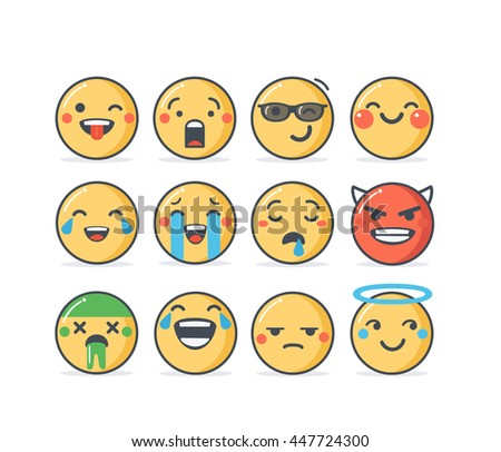 Set of emoticons in line style, emoji isolated on white background. Cute icons. - stock photo