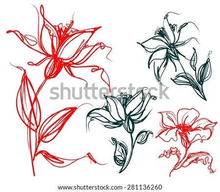 Set of flower images - stock photo