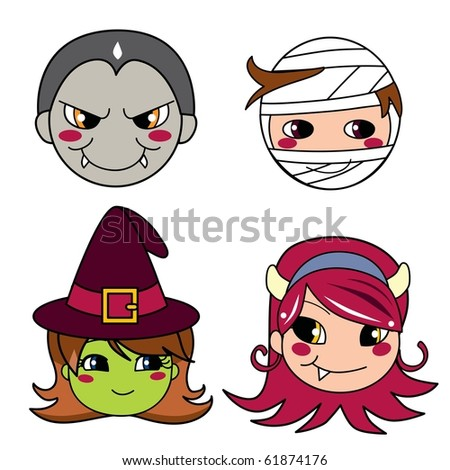 Set of four monster face masks for halloween. Raster version of vector illustration ID: 61797196 - stock photo