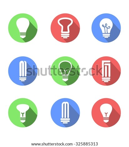 set of icons on a theme of lightbulbs