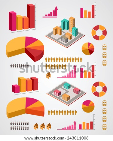 set of info graphics elements on a gray background - stock photo
