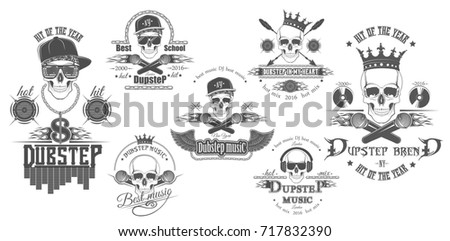 Set logos dubstep music style logo stock illustration 717832390 set of logos for dubstep music style logo for t shirts music posters altavistaventures Choice Image