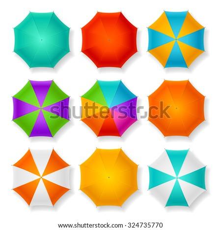 Set of Nine Different Umbrellas. illustration - stock photo