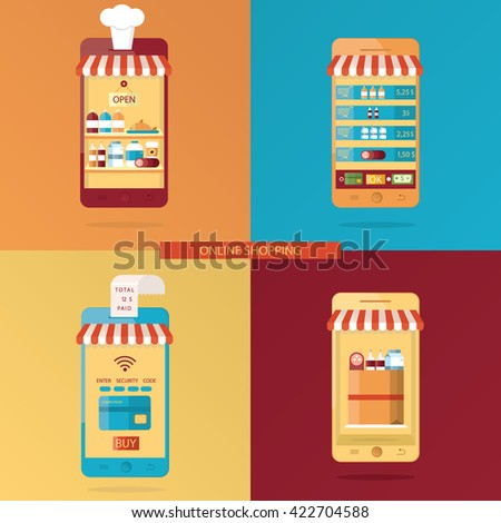 set of Online shopping, online food delivery - stock photo